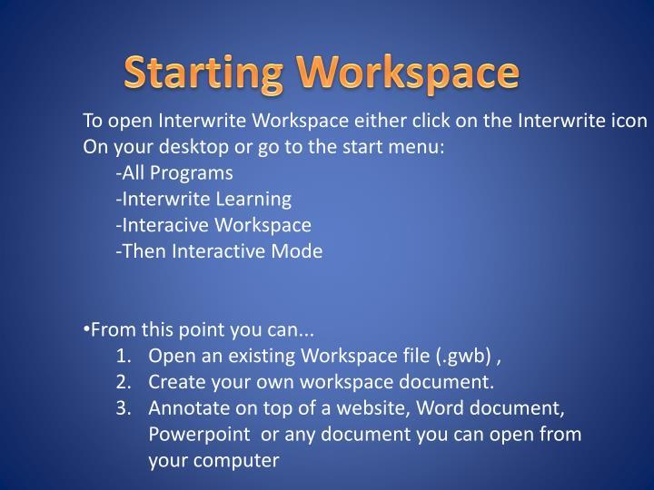 Starting Workspace