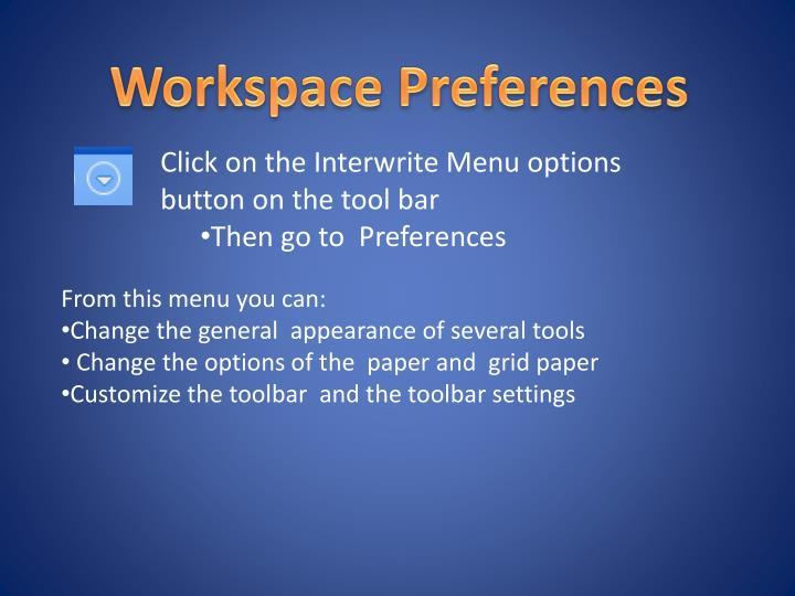 Workspace Preferences