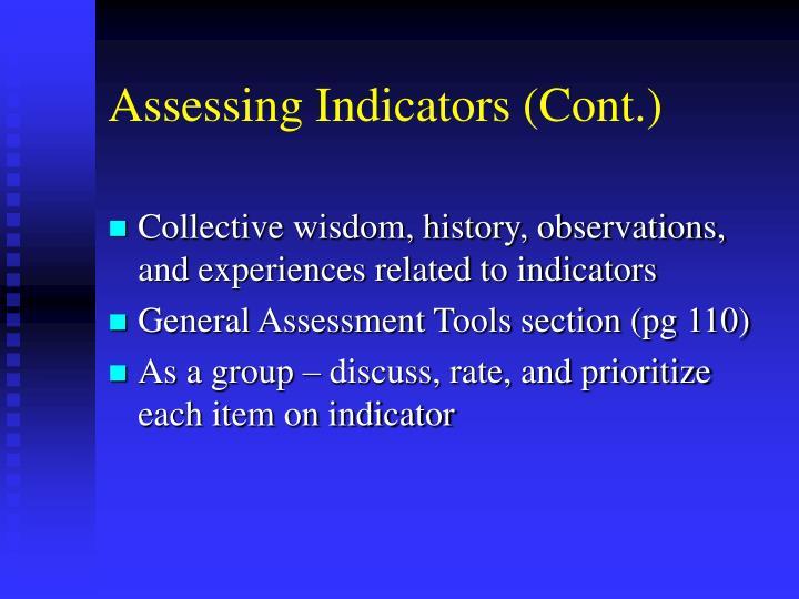 Assessing Indicators (Cont.)