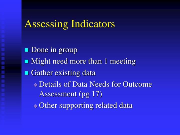 Assessing Indicators