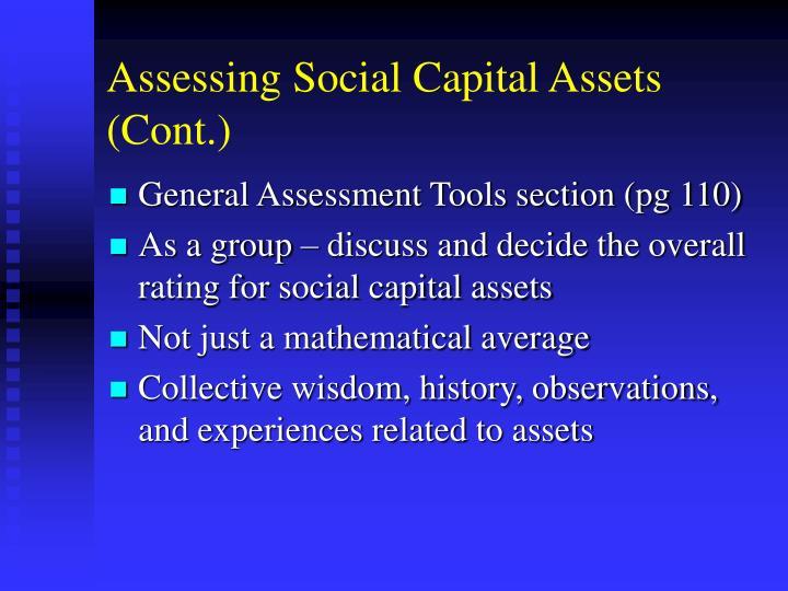 Assessing Social Capital Assets (Cont.)