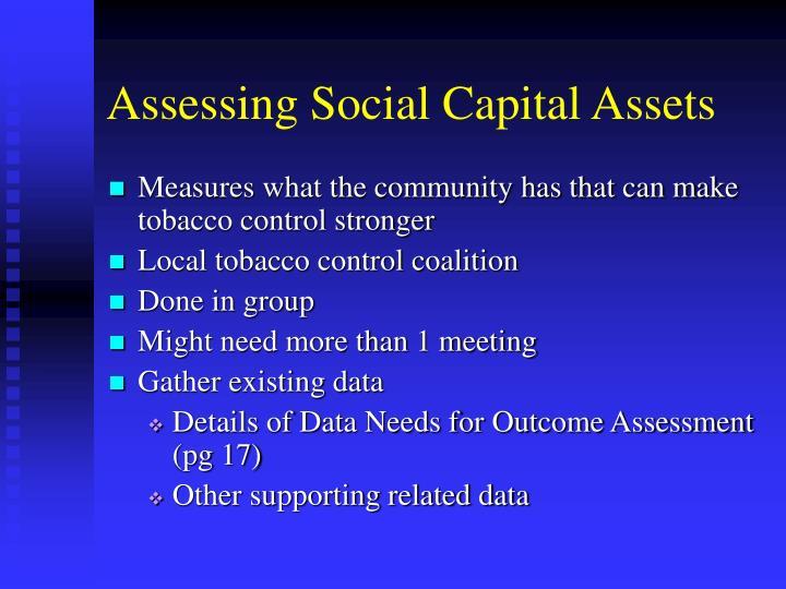 Assessing Social Capital Assets