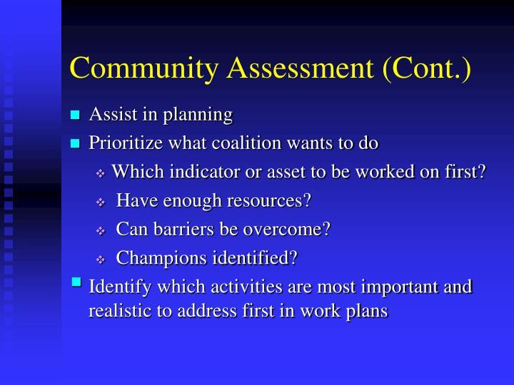 Community assessment cont