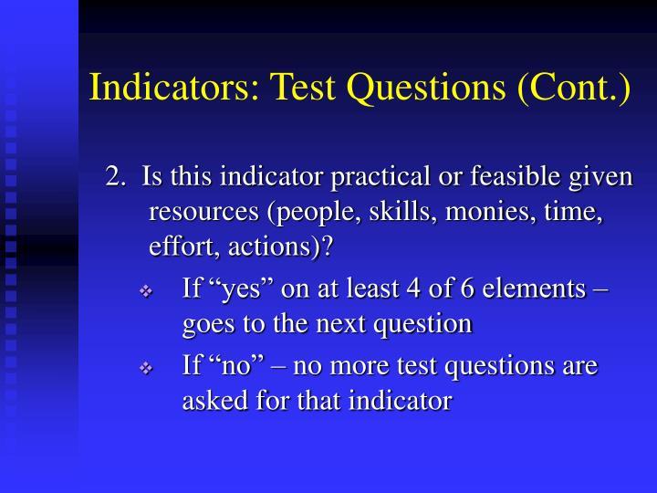 Indicators: Test Questions (Cont.)