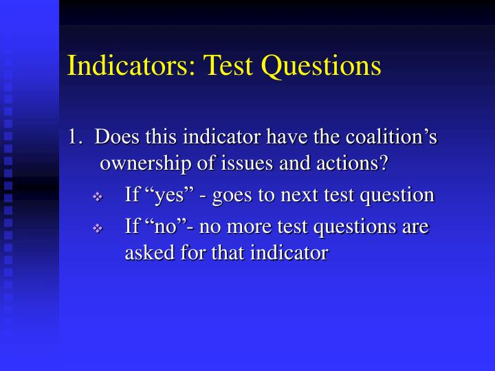 Indicators: Test Questions