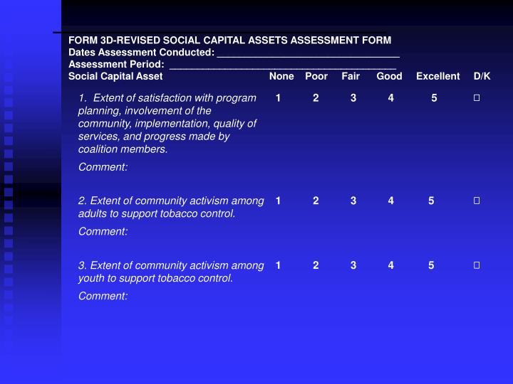 FORM 3D-REVISED SOCIAL CAPITAL ASSETS ASSESSMENT FORM