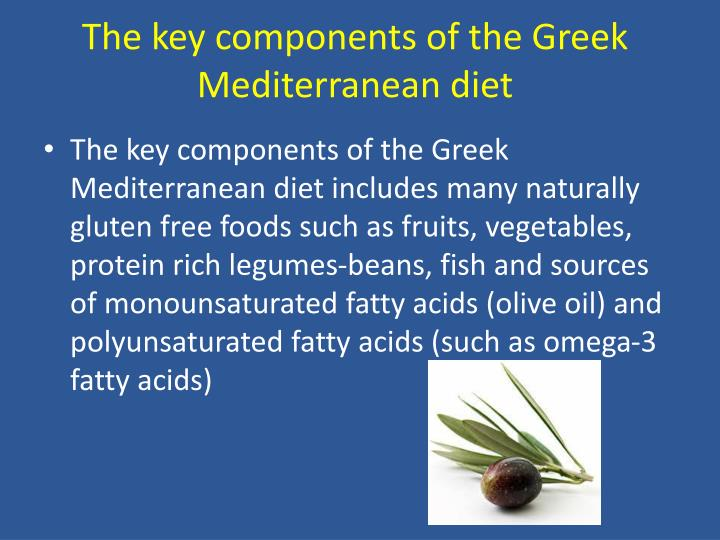 The key components of the Greek Mediterranean diet
