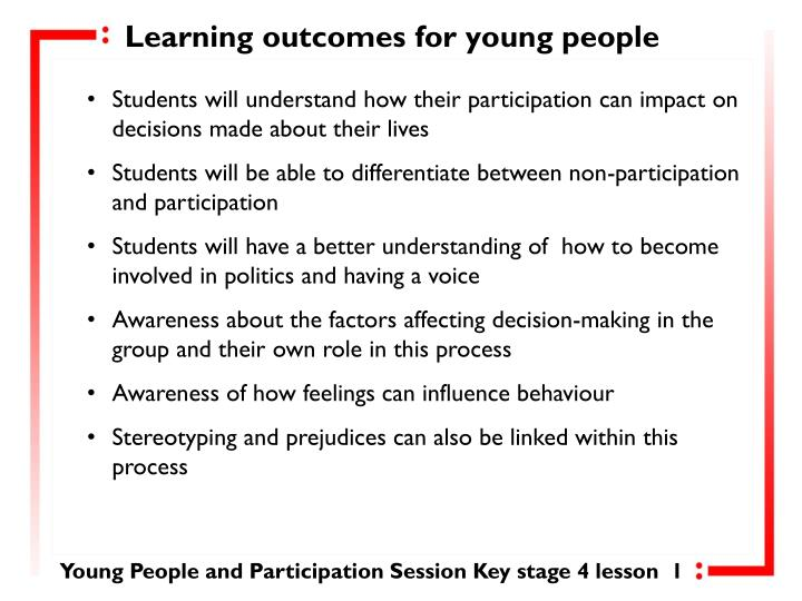 Learning outcomes for young people