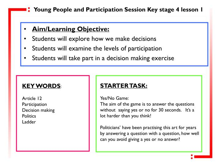 Young People and Participation Session Key stage 4 lesson 1
