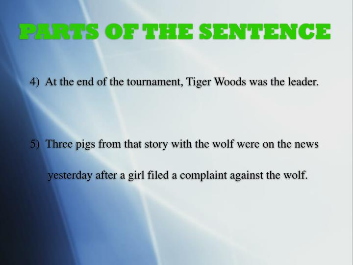 PARTS OF THE SENTENCE