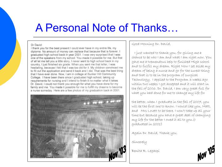 A Personal Note of Thanks…