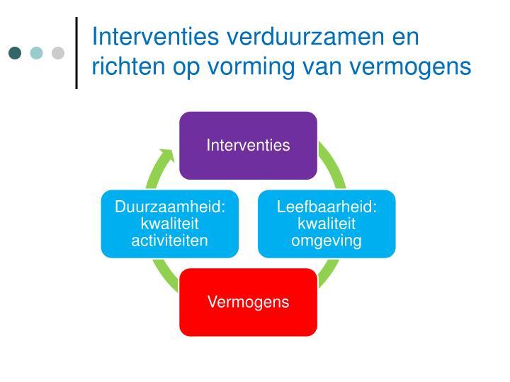 Interventies verduurzamen en richten op vorming van vermogens