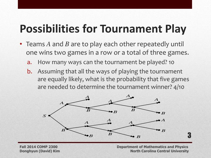 Possibilities for tournament play1