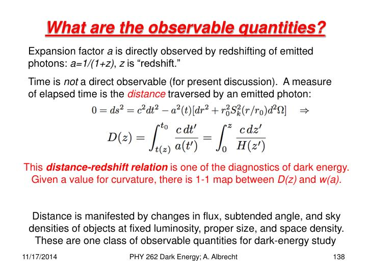 What are the observable quantities?