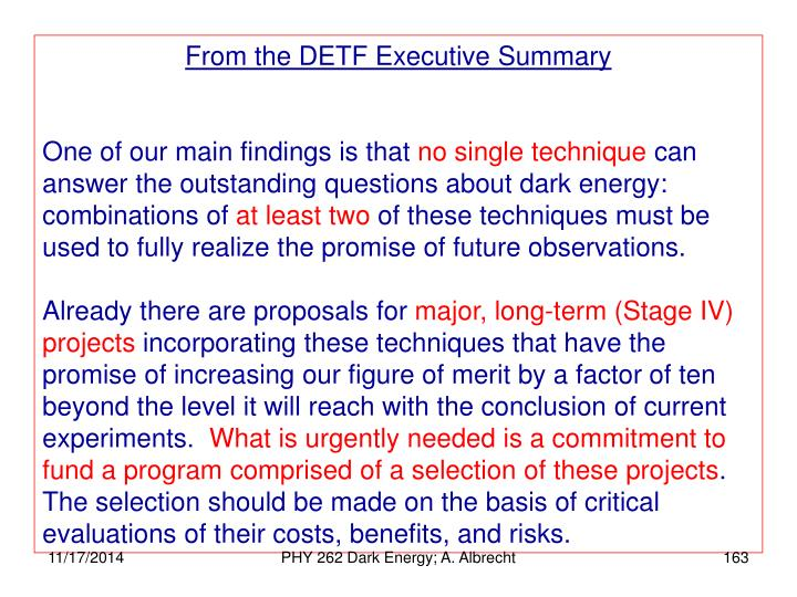 From the DETF Executive Summary