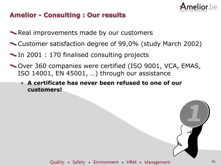 Amelior - Consulting : Our results