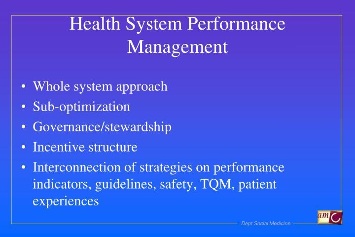 Health System Performance Management