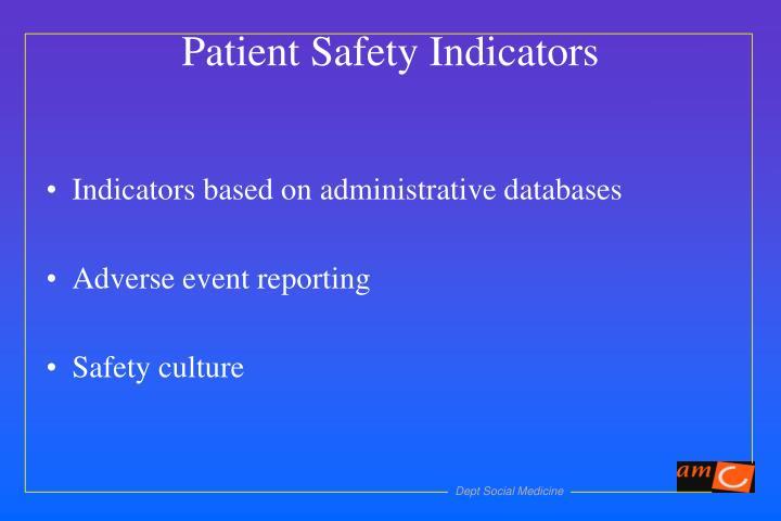 Indicators based on administrative databases