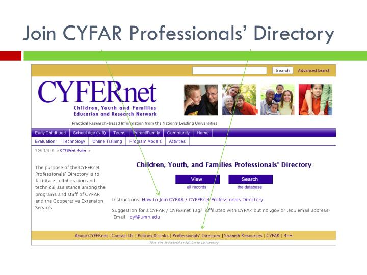 Join CYFAR Professionals' Directory