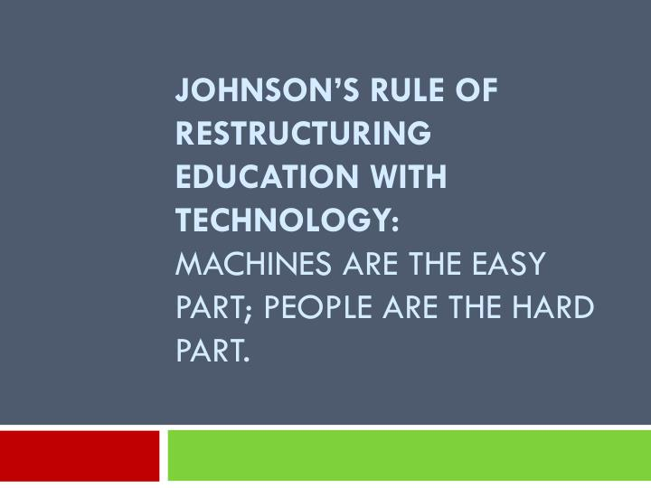 Johnson's Rule of Restructuring Education with Technology: