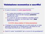 valutazione economica e sacrifici