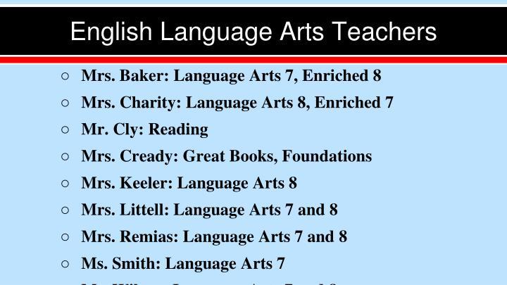 English Language Arts Teachers
