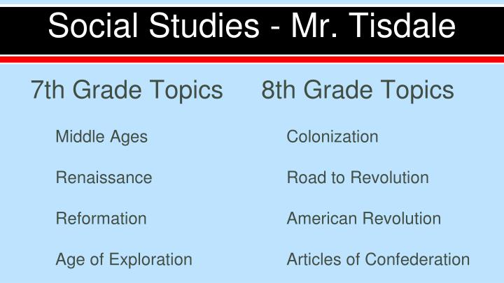 Social Studies - Mr. Tisdale