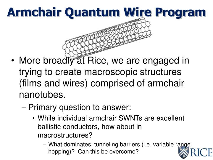 Armchair Quantum Wire Program