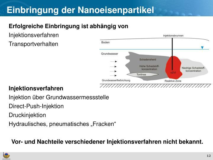Einbringung der Nanoeisenpartikel