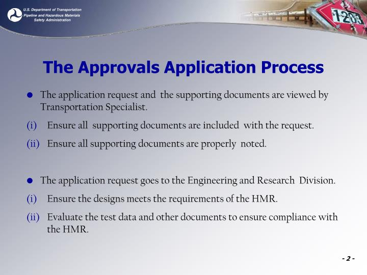 The approvals application process