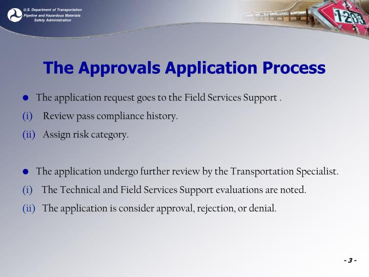 The approvals application process1