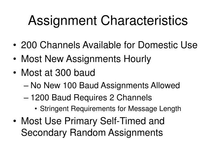 Assignment Characteristics