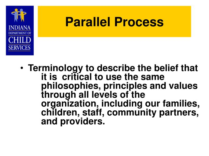 Terminology to describe the belief that it is critical to use the same philosophies, principles and values through all levels of the organization, including our families, children, staff, community partners, and providers.