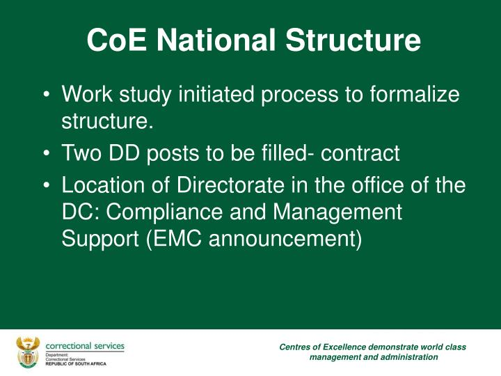 Work study initiated process to formalize structure.