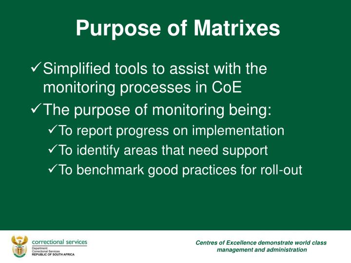 Simplified tools to assist with the monitoring processes in CoE