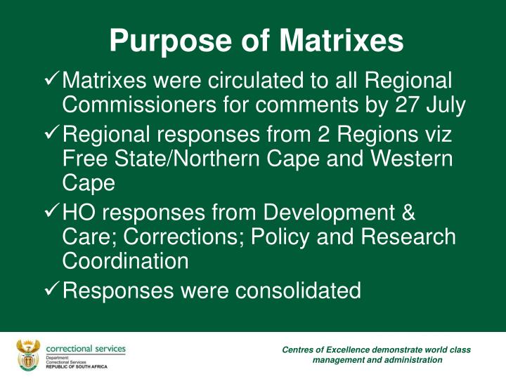 Matrixes were circulated to all Regional Commissioners for comments by 27 July