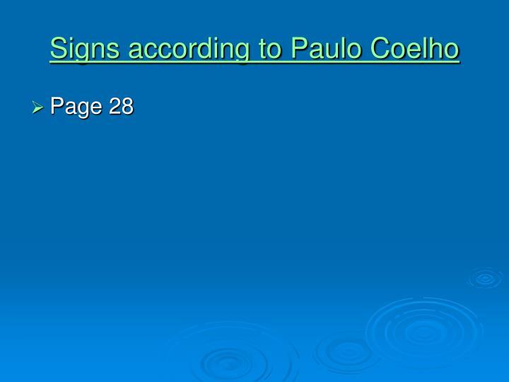 Signs according to Paulo Coelho