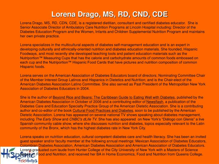 Lorena Drago, MS, RD, CND, CDE