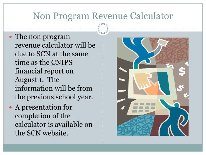 Non Program Revenue Calculator