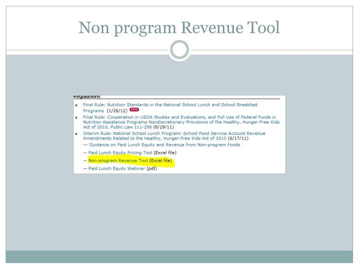 Non program Revenue Tool