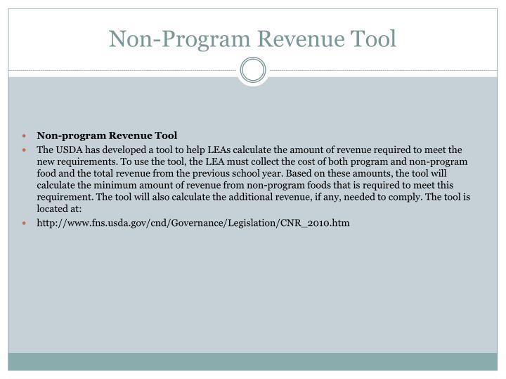 Non-Program Revenue Tool