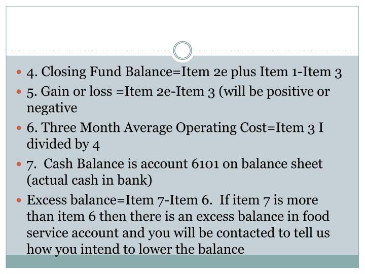 4. Closing Fund Balance=Item 2e plus Item 1-Item 3