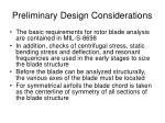 preliminary design considerations