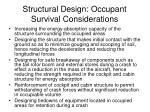 structural design occupant survival considerations
