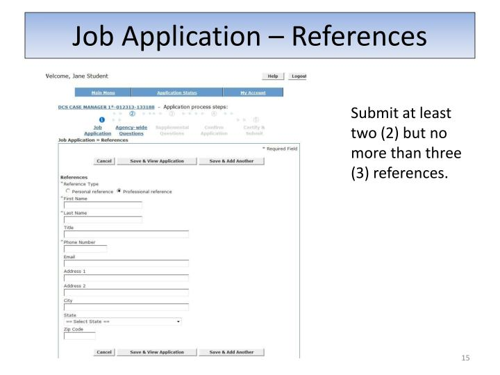 Job Application – References