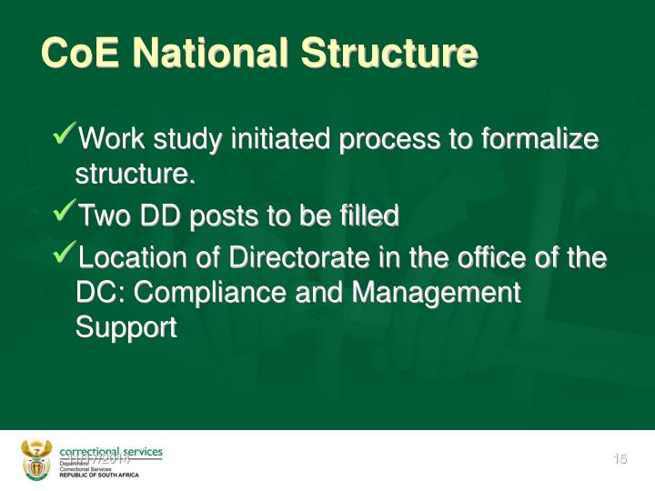 CoE National Structure