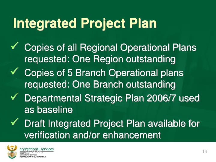 Integrated Project Plan