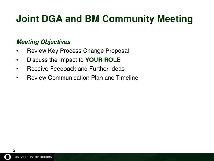 Joint DGA and BM Community Meeting