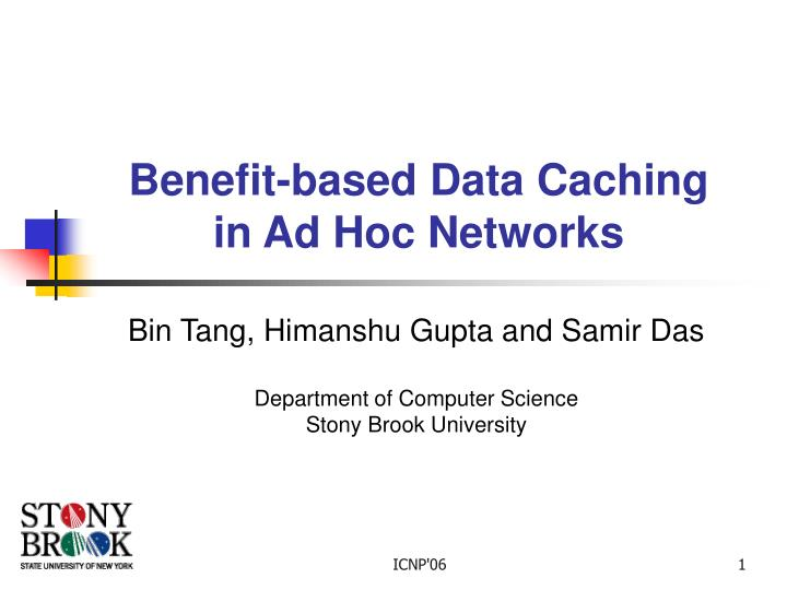 benefit based data caching in ad hoc networks n.