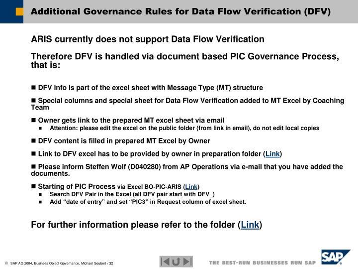 Additional Governance Rules for Data Flow Verification (DFV)